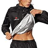 Kumayes Sauna Suit for Women Sweat Jacket Long Sleeve Sweat Suits Slimming Workout Waist Trainer Shirt Fitness Body Shaper Zipper (Black, X-Large)