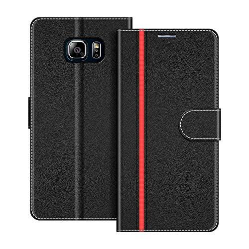 COODIO Handyhülle für Samsung Galaxy Note 5 Handy Hülle, Samsung Galaxy Note 5 Hülle Leder Handytasche für Samsung Galaxy Note 5 Klapphülle Tasche, Schwarz/Rot