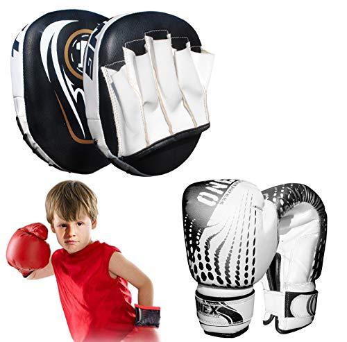 ONEX Boxing Set, Boxing Gloves, Kids Focus Pad, Boxing Set, Punching Bag Set, Target Boxing Set, Training Set, MMA Set, Training Set, Hook & Jab Strike Pads (Black Set)