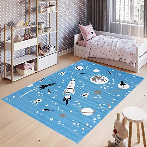 Tapiso Pinky Teppich Kurzflor Blau Grau Weiß Modern Raketen Planeten Weltall Design Kinderzimmer Kinderteppich ÖKOTEX 200 x 300 cm