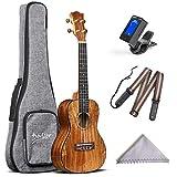 Deviser Concert 23inch professional ukulele Solid Koa Top Koa back & side with Gig Bag & Aquila String & Digital Tuner & Strap & Polishing Cloth
