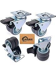 Herenear 4 stuks 50 mm zwenkwielen voor zware lasten dubbele wielen meubelwielen wielen voor meubels met rem draagkracht 600 kg