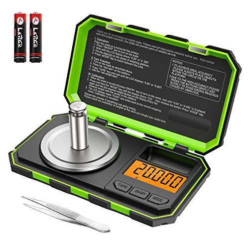Brifit Balance de Précision, 20g/0.001g, 20g de Poids D'étalonnage et Pincettes Électrostatiques, Balance de Poche avec Écran LCD, avec Fonction de Tare, Acier Inoxydable (Batterie Incluse Vert)
