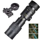 FTF 4k 10-300x40mm Telescopio Monocular con Zoom Súper Telefoto con Clip Universal Teléfono Móvil, Visión Nocturna Impermeable con Poca Luz