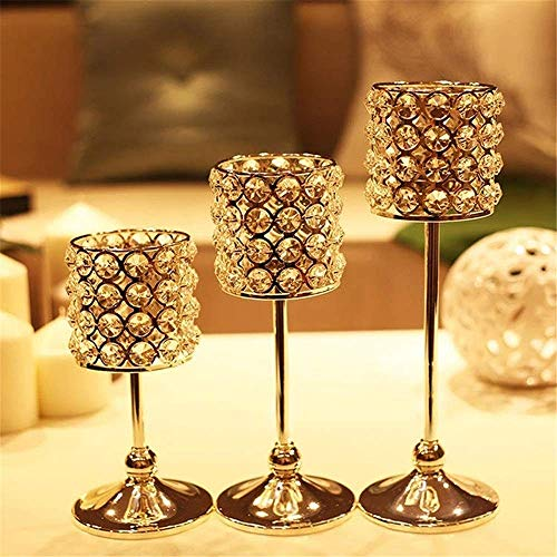 YNHNI Vintage decoration, Candle Stand Romantic Dreamy Crystal Candle Holder Candlestick Home Party Decoration Dinning for Wedding, Dinning, Party (Color : Silver, Size : Small)