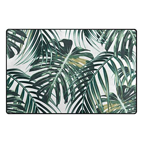 Use7 Teppich mit tropischen Palmenblättern, Dschungelbereich, Teppich für Wohnzimmer, Schlafzimmer, 100 x 150 cm