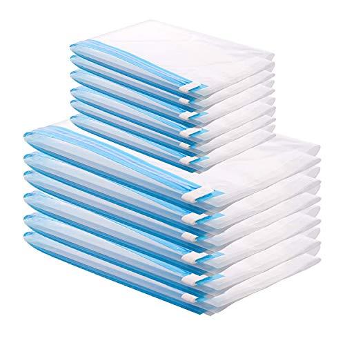 Bolsas de Almacenaje al Vacío 12 Piezas Bolsas de Vacío de Ahorro de Espacio Reutilizables Transparentes para Ropa Edredones Mantas Sin Necesidad de Bomba(6PCS(50 x 35 cm ) 6PCS(60 x 40 cm ))
