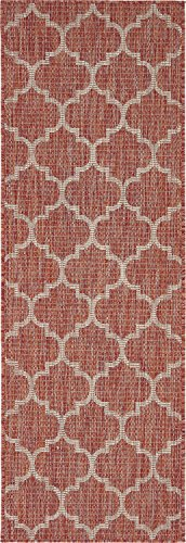 Unique Loom Outdoor Trellis Collection Casual Moroccan Lattice Transitional Indoor and Outdoor Flatweave Rust Red   Runner Rug (2' 0 x 6' 0)