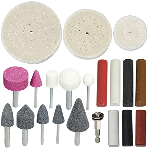 SPARES2GO Metal Cleaning Grinding Polishing Buffing & Compounds Kit for Power Tools (21 Pieces)