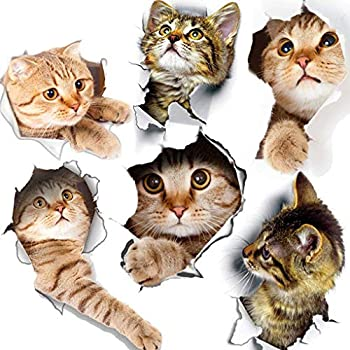 6PCS 3D Wall Stickers Cats Self Adhesive Kids Wall Decals/Removable Vinyl Art Murals for Living Room Baby Rooms Bedroom Toilet House Wall DIY Decoration