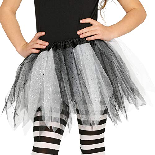 Amakando Universell einsetzbarer Tüllrock für Mädchen / ca. 30 cm lang in schwarz-weiß / Niedlicher Ballettrock kleine Tänzerin / EIN Blickfang zu Kinder-Fasching & Mottoparty