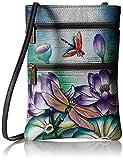 Anuschka Damen Women's Leather Hand Painted Double Zip Travel Crossbody Bag Umhängetasche, Handtasche, Ruhiger Teich, Einheitsgröße