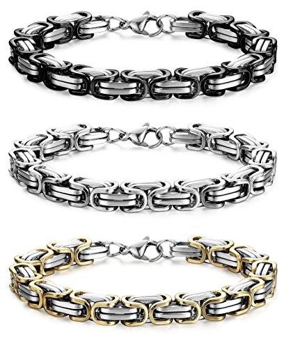 FIBO STEEL 2-3 pulseras de eslabones de cadena de acero inoxidable de 8 mm para hombres pulseras bizantinas, 8.0-9.1 pulgadas