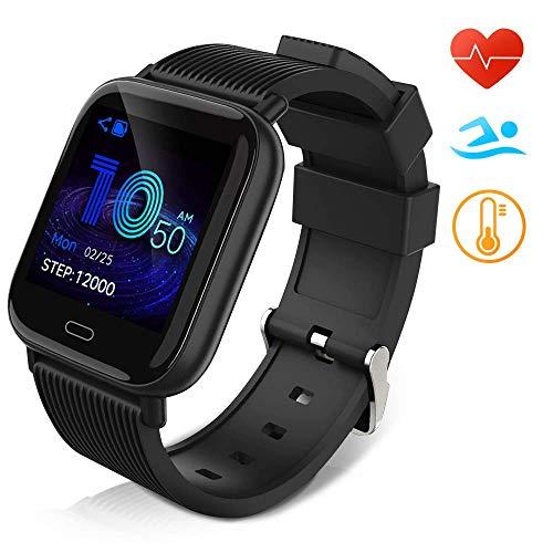 Huyeta Smartwatch Fitness Armbanduhr für Damen Herren Kinder Sportuhr IP67 Wasserdich Fitness Tracker mit Schrittzähler Pulsmesser für iOS Android Handy (black1)