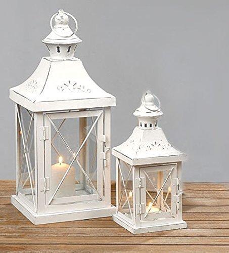 HausderHerzen.de Laternen Windlicht 2er Set in Shabby aus Metall weiß Laterne