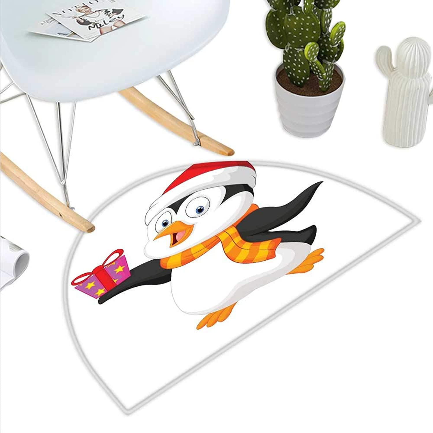 Baby Semicircle Doormat Friendly Penguin Character with Christmas Attire Holding an Ornate Box North Pole Halfmoon doormats H 39.3  xD 59  Multicolor
