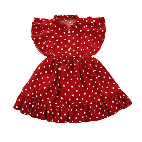 Sunenjoy Enfant Bébé Fille Robe Princesse Été sans Manches Volants Points Imprimé Bouton Casual Mode Plage 2-8 Ans