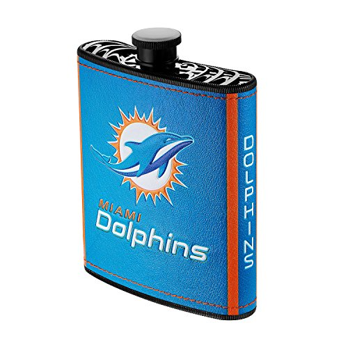 Pro Specialties Group NFL Miami Dolphins Plastic Hip Flask, 7-Ounce