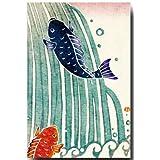 和風イラスト ポストカード 染絵風 「鯉の滝登り」 端午の節句 和道楽