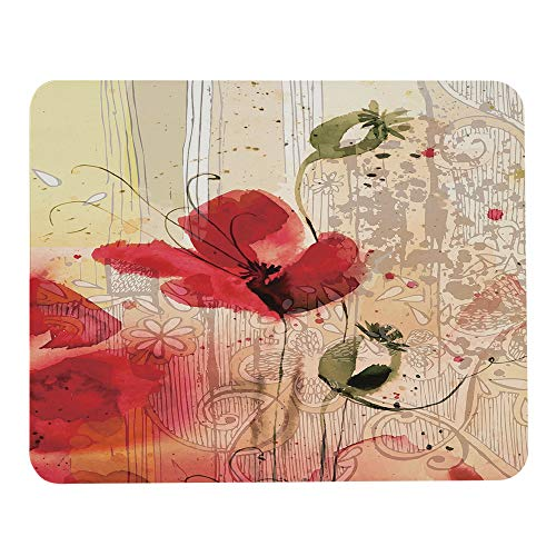 Wozukia Flower Mouse Pad Red Poppy Flower Beige Floral Mouse Pad Computer Accessories Home Office Space Cubicle Decor Gaming Mouse Pad Custom Design 9.5 X 7.9 Inch (240mmX200mmX3mm)