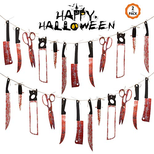 Huayue 16 Pezzi Banner Horror di Halloween da 2,2M, Ornamenti Horror di Halloween Decorazione Sanguinante per Festa a Tema Bar Haunted House