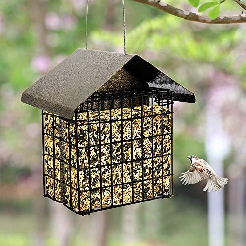 FORUP Suet Bird Feeder, Hanging Suet Feeder, Suet Cake Bird Feeder with Hanging Metal Roof, Two Suet Capacity