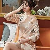 MTCDBD Kimono Mujer Bata Señoras, 2 Sexy Champagne Robe Set Pijamas De Satén, Soft Cosy Loungewear Y Nightwear Albornoz, Amigos, Familiares Y Amantes, XL