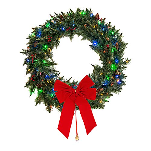 "Mr. Light 24"" Battery Operated Indoor/ Outdoor Wreath with 35 Dual Color LEDs (Switch Between Warm White and Multicolor), Red Berries, Pine Cones, Frosted Tips; Built-in 6hr/ 24 hr Auto-Restart Electronic Timer"