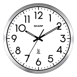 Sharp Atomic Analog Wall Clock - 12 Silver Brushed Finish - Sets Automatically- Battery Operated - Easy to Read - Easy to USE: Simple, Easy to Read Style fits Any Decor…