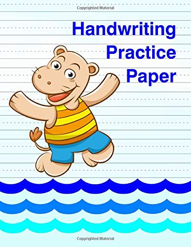 Handwriting Practice Paper: Blank Notebook with Dotted Mid-Lines for Grades K-3 [Cartoon Hippo Swimming]