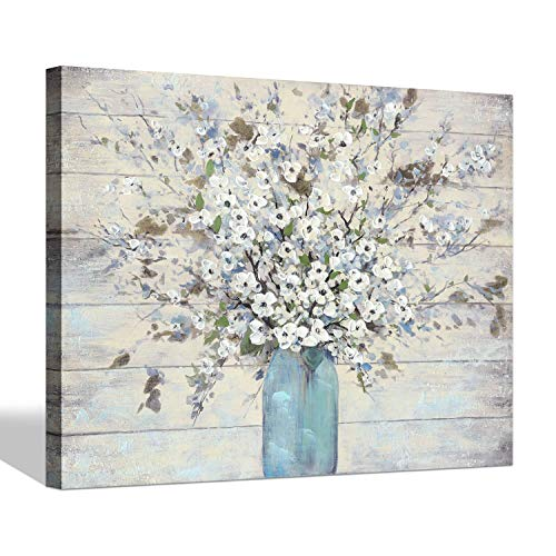SD SOFT DANCE Abstract Flower Canvas Wall Art - Bouquet Floral Painting Artwork on Wrapped Canvas for Living Room (24'' x 18'' x 1 Panel)