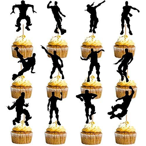 HASAKA 24 Stück Dance Floss Cupcake Toppers (12 Arten) Spielthema Partyzubehör Alles Gute zum Geburtstag Kuchen Dekoration