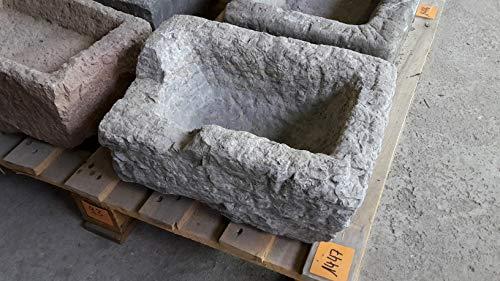 Der Naturstein Garten Alter Trog aus Granit 35 cm lang Brunnen Steintrog - G1447 Granittrog Waschbecken