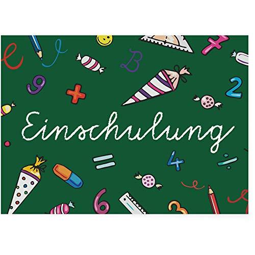 Postkartenschmiede Einschulung Einladungskarten (12er-Set) - Einladung zum Schulanfang - Mädchen Junge