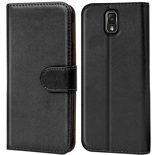 Verco Galaxy Note 3 Hülle, Handyhülle für Samsung Galaxy Note 3 Tasche PU Leder Flip Hülle Brieftasche - Schwarz