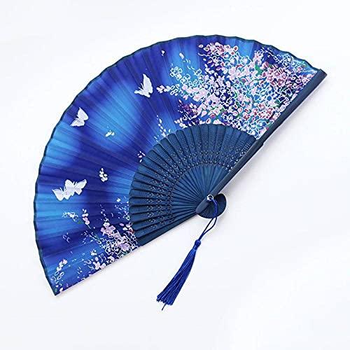 Abanico Plegable - 7 Pulgadas Plegable Mano Ventilador Nacional Mujer Japonesa Viento Cheongsam Prop Antiguos Fans Vintage Bambu Incluso Colar Un Ventilador De Mano Principal Para La Boda, Fiesta, Re
