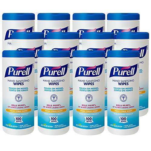 PURELL Hand Sanitizing Wipes Non-Alcohol Formula, Fresh Citrus Scent, 100 Count Non-Linting Hand Wipes in Eco-Slim Wipe Canister (Pack of 12) -9111-12