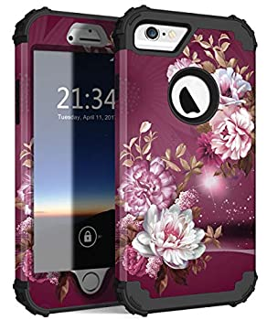 Hocase iPhone 6s Case iPhone 6 Case Heavy Duty Shockproof Silicone Rubber Bumper+Hard Plastic Full Body Protective Case for iPhone 6s/iPhone 6 with 4.7-inch Display - Royal Purple Flowers