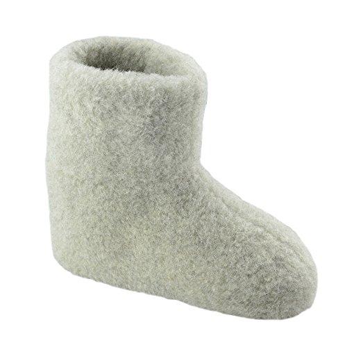 SamWo, 100% Reine Schafwolle Hausschuhe Wollhausschuhe Fußwärmer Hüttenschuhe Stiefel hellgrau Premium, FW 45-46 HGR Pr