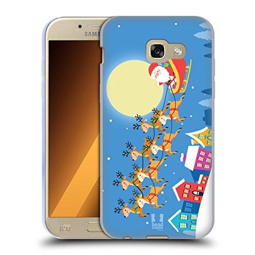 Head Case Designs Babbo Natale sulla Slitta Cartoni di Un Felice Natale Cover in Morbido Gel Compatibile con Samsung Galaxy A5 (2017)
