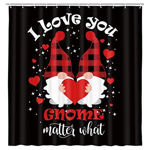 JAWO Happy Valentine's Day Duschvorhang, süßer Zwerg mit rotem Herz, Duschvorhänge für Paare, Liebhaber, Badezimmer-Dekoration, wasserdichter Stoff, Badevorhang-Sets mit 12 Haken