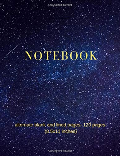 Notebook: alternate blank and lined pages- large 120 pages (8.5x11 inches)- ideal for study - geography,science,art