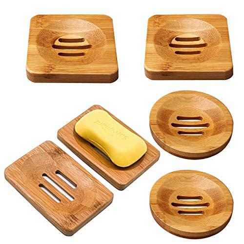 Liwein Jaboneras de Madera Natural de Bambú, 6 Piezas Jaboneras de Bambú Cuadrado Redondo y Rectangular Natural Caja de Jabón para Baño Ducha Cocina