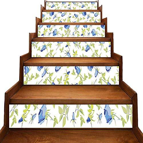 JiuYIBB - Adhesivo decorativo con diseño de flores verdes abstractas, multicolor