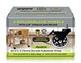 """Slipstick 3 Inch Rubber Caster Wheels with Brake Locks (4 Pack) Heavy-Duty Rollerblade Style Castors with 3/8"""" – 16 UNC Threaded Stem & Mounting Hardware, Black/Clear"""