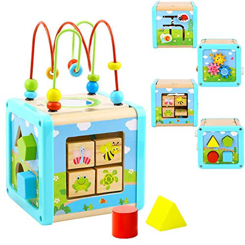 TOOKYLAND Activity Cube Wooden Toys Bead Maze Shape Sorter Learning Developmental Montessori Toys Small Size Gifts for Toddler Kids