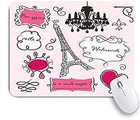Mabby マウスパッド,Doodle Frames in French Style Rococo Baroque Lantern Mademoiselle Print,ラップトップコンピュータPCオフィス用の滑り止めラバーベースマウスパッド
