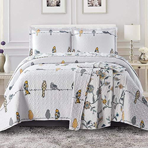 Royal Hotel Bedding Ayat Birds Oversized Coverlet Set, Luxury Printed Design Quilt, Bedspread Set - Filled Quilts - Fits Pillow top Mattresses - 3PC Set - Queen Size
