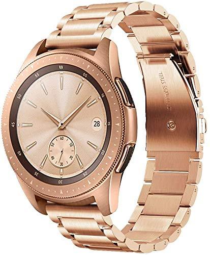 Armband 20mm Kompatibel mit Samsung Galaxy Watch Active 2/Galaxy Watch 42mm/Huawei Watch GT/GT2 42mm/Honor Magic Watch 2 42mm Metallband Edelstahl Ersatz Uhrenarmband für Herren-Roségold