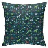 XCNGG Funda de almohadaEuropean Modern Minimalist Abstract Pattern Throw Pillow Abstract Christmas Pattern Winter Scandinavian Pillow Decoration Set 18 X 18 Inches